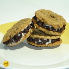 Chocolate Chip Sandwich Cookies with Mini Chip Garnish